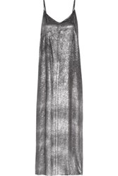 Rta Marlene Silk Lame Maxi Dress Silver