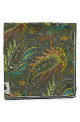 Men's Robert Talbott Paisley Pocket Square Green