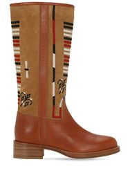 Etro 20Mm Embroidered Leather Tall Boots Tan
