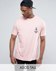 Asos Tall Oversized T Shirt With Peace Out Embroidery Pink