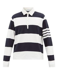Thom Browne Striped Long Sleeved Rugby Shirt Navy