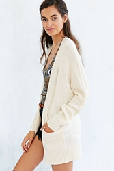 Ecote Mixed Stitch Open Front Cardigan Ivory