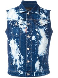 Dsquared2 Bleached Splatter Denim Vest Blue