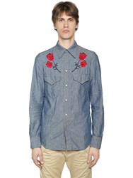 Dsquared Rose Embroidery Cotton Shirt