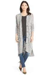 Women's Caslon Long Slub V Neck Cardigan