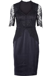 Catherine Deane Belted Lace Paneled Satin Dress Blue