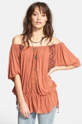 Free People New World Off The Shoulder Butterfly Tunic Orange