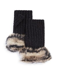 Ugg Australia Lurex Crochet Gloves With Shearling Sheepskin Cuff Black