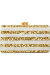 Edie Parker Woman Glittered Stripe Perspex Clutch Ivory