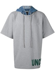 Juun.J Short Sleeve Hoodie Men Cotton Ii Grey