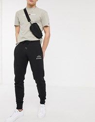 Tommy Hilfiger Flag Embroidered Cuffed Joggers In Black