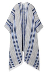By Malene Birger Checked Linen And Cotton Blend Wrap Light Blue