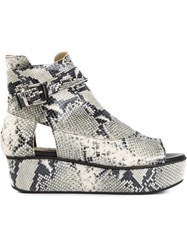 Thakoon Addition Snakeskin Effect Platform Sandals Black