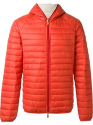 Save The Duck Hooded Puffer Jacket Red