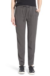 Women's Eileen Fisher Silk Crepe Drawstring Waist Ankle Pants Bark