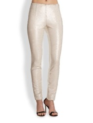 Sachin Babi Sequined Front Faux Leather Skinny Pants Ivory