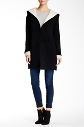 Love Stitch Two Tone Hooded Knit Sweater Coat Black
