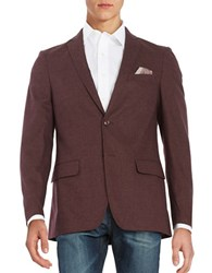 Tallia Orange 2 Button Cotton Twill Blazer Burgundy