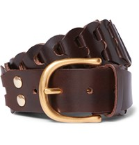 Tom Ford 4Cm Woven Leather Belt Chocolate