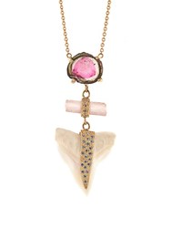 Jacquie Aiche Diamond Tourmaline Shark's Tooth And Gold Necklace Yellow Gold