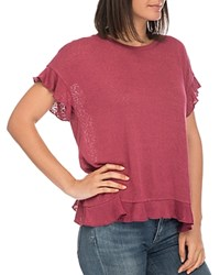 B Collection By Bobeau Abella Ruffle Trim Tee Berry