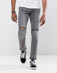 Antioch Ripped Skinny Jeans With Unrolled Hem Grey