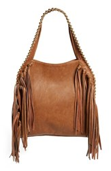 Big Buddha Fringe Faux Leather Hobo Brown Tobacco