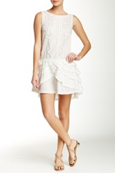 Pam And Gela Lace Trim Woven Dress White