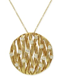 Effy Collection D'oro By Effy Diamond Textured Circle Pendant 3 4 Ct. T.W. In 14K Gold