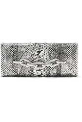 Tom Ford Chain Embellished Metallic Python Clutch Silver