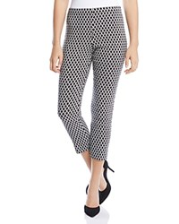 Karen Kane Diamond Print Crop Skinny Pants Black Off White