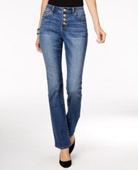Inc International Concepts Button Fly Gibson Wash Curvy Fit Bootcut Jeans Only At Macy's