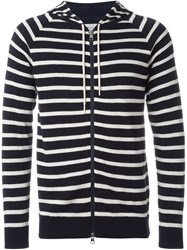 Moncler Striped Hooded Sweater Blue