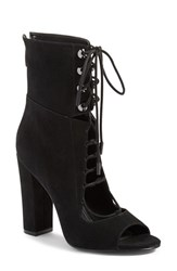 Kendall Kylie Women's 'Ella' Lace Up Peep Toe Bootie Black Suede