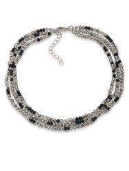 Abs By Allen Schwartz All Choked Up Take 2 Beaded Choker Silver