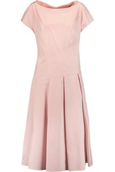 Vionnet Pleated Cotton Blend Poplin Midi Dress Pastel Pink