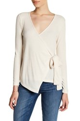 Bobeau Ribbed Wrap Long Sleeve Shirt Petite White