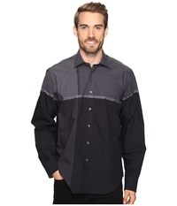 Bugatchi Maceo Long Sleeve Woven Shirt Graphite Men's Long Sleeve Button Up Gray