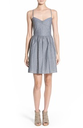 Hinge Chambray Fit And Flare Dress Blue Chambray