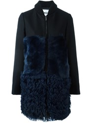 Msgm Ribbed Collar Mid Length Coat Blue