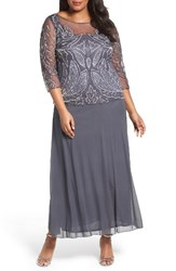 Pisarro Nights Plus Size Women's Illusion Neck Beaded A Line Gown New Slate