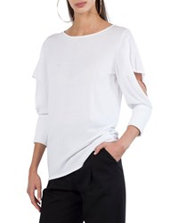 Akris Punto Round Neck 3 4 Sleeve Pullover Knit Top With Cutout Detail Cream