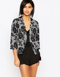 Iska Blazer In Big Flower Print Black