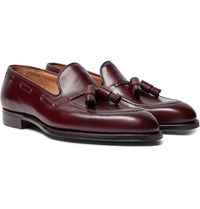 George Cleverley Adrian Burnished Leather Loafers Burgundy
