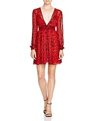 Michael Michael Kors Leopard Print Chiffon Dress Red Blaze