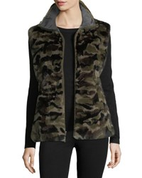 Belle Fare Reversible Camo Print Rabbit Fur Vest Green Camo