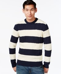 Tommy Hilfiger Mikey Cable Knit Rugby Stripe Sweater Navy Ivory
