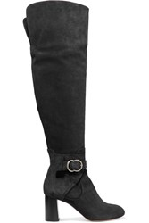 Chloe Buckled Washed Suede Over The Knee Boots Black