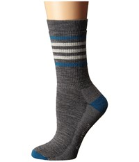 Smartwool Striped Hike Medium Crew Medium Grey Women's Crew Cut Socks Shoes Gray