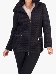 Chesca Cable Embroidered Quilted Coat Black
